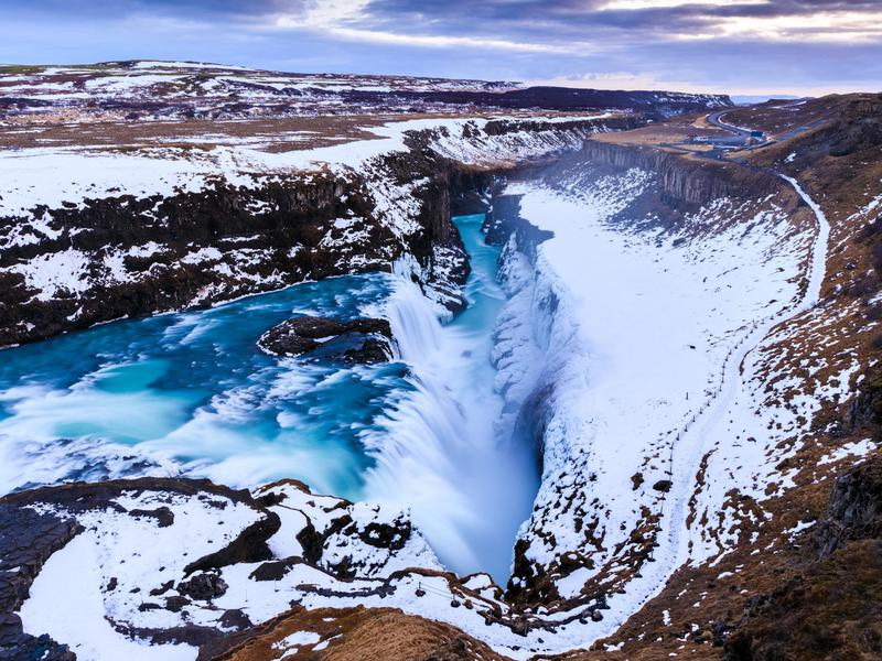 Gullfoss is particularly striking in the winter.