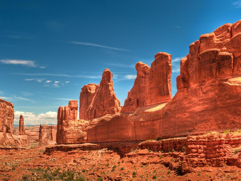 Arches National Park contains 65-million-year-old geological features.