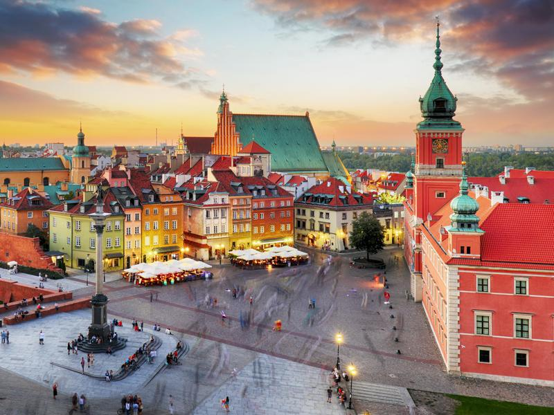 Dusk in Old Town in Warsaw, Poland.