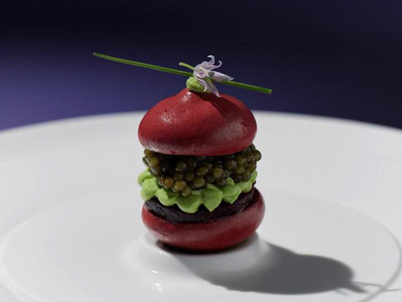 Restaurant Tim Raue strives to be unique. Pictured here: red beets with caviar and chives cream.