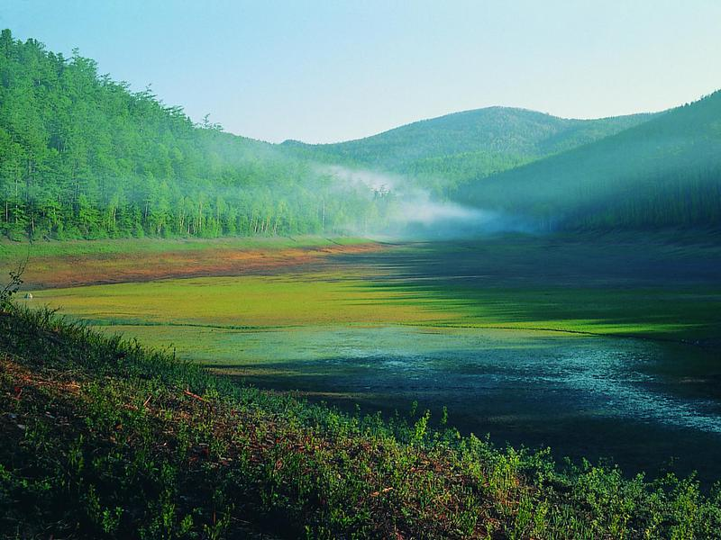 Early morning on Bikin River, part of the Sikhote-Alin mountain range, which contains one of the richest and most unusual temperate forests of the world.