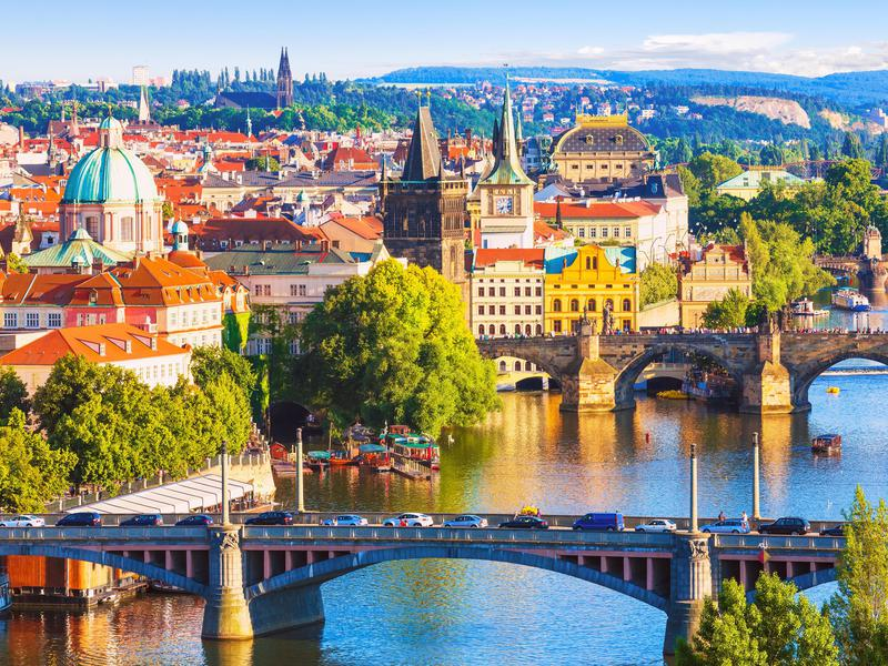 The bridges in central Prague, Czech Republic.