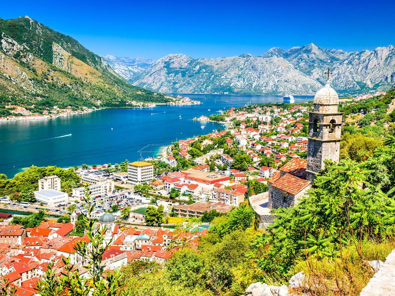 The town of Kotor in Montenegro along the Adriatic Sea.