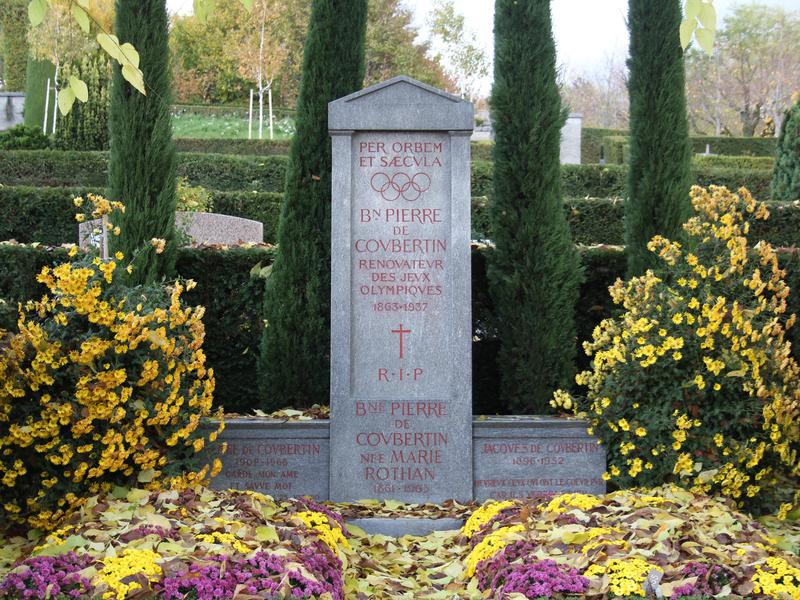 The founder of the Olympics gets his due at this impeccable Swiss graveyard.