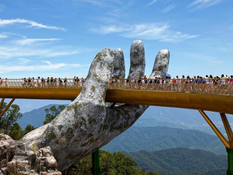Golden Bridge opened in Vietnam in June 2018 and, with its unusual design, immediately gained international attention.