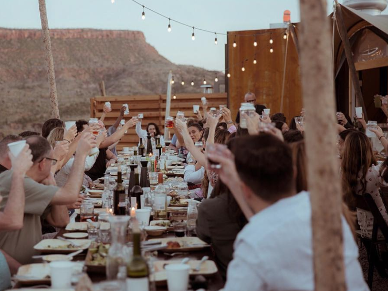 A dinner celebration at the Zion National Park Under Canvas site.