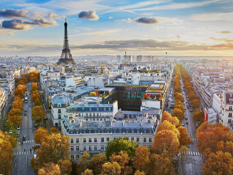 Aerial panoramic cityscape view of Paris, France.
