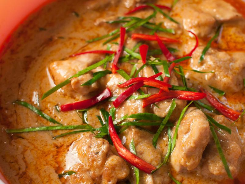 Thailand takes spiciness seriously in dishes like red-curry Phanaeng kai.