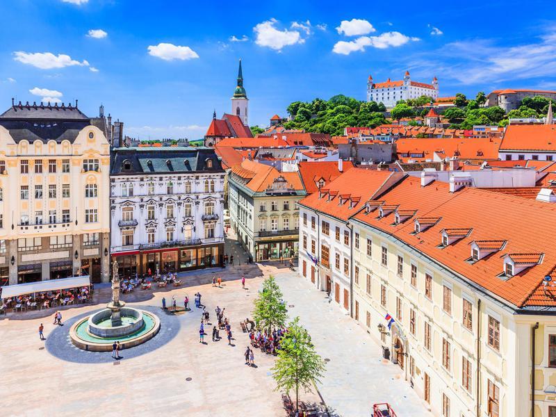 A square in Bratislava, Slovakia.