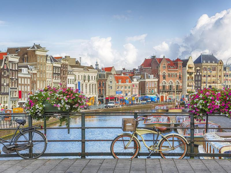 Bikes abound in beautiful, green Amsterdam.