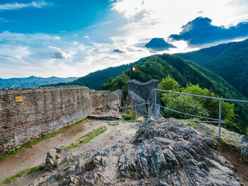 The remains of Poenari Castle overlook the Romanian countryside.