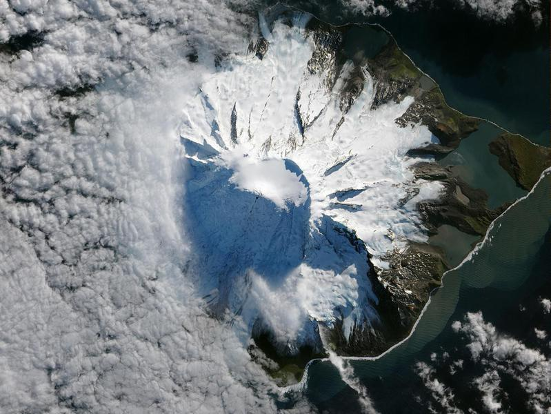 Satellites capture volcanic activity on remote Heard Island.