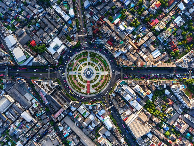 From on high, the vehicles in a Bangkok roundabout look like toy cars.