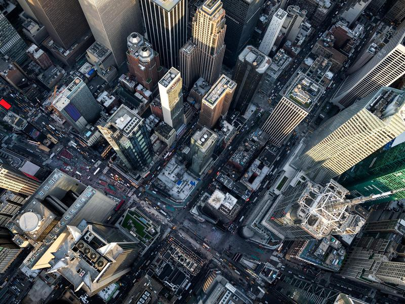 From straight above, Manhattan's towering skyline looks disarmingly small.