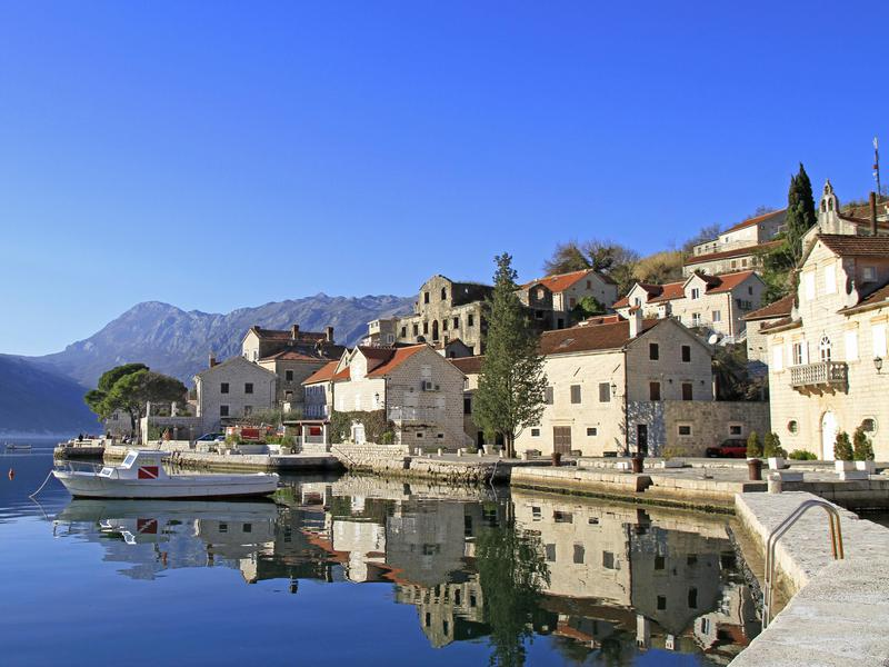 Perast, an ancient town on the Bay of Kotor in Montenegro.