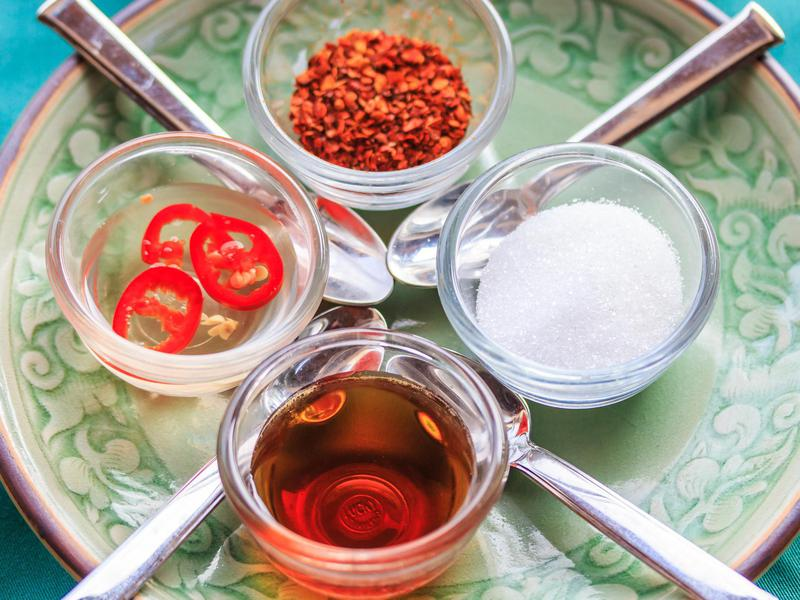 Condiments are key to traditional Thai cuisine.