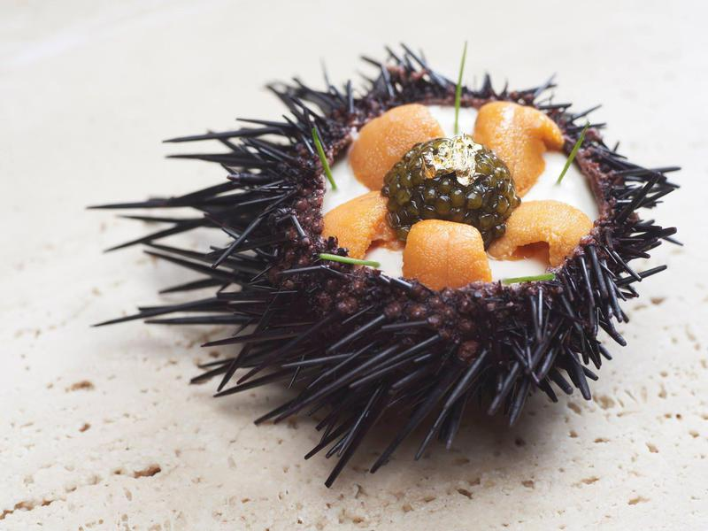 At Odette, French far is prepped with love. Pictured here: a trio of Hokkaido uni, botan ebi and caviar.