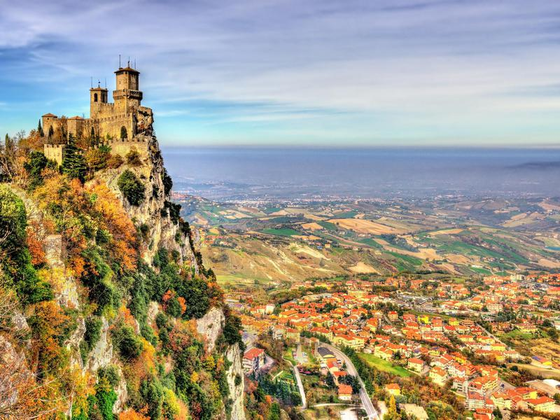 Guaita Tower overlooks San Marino, the world's oldest republic.