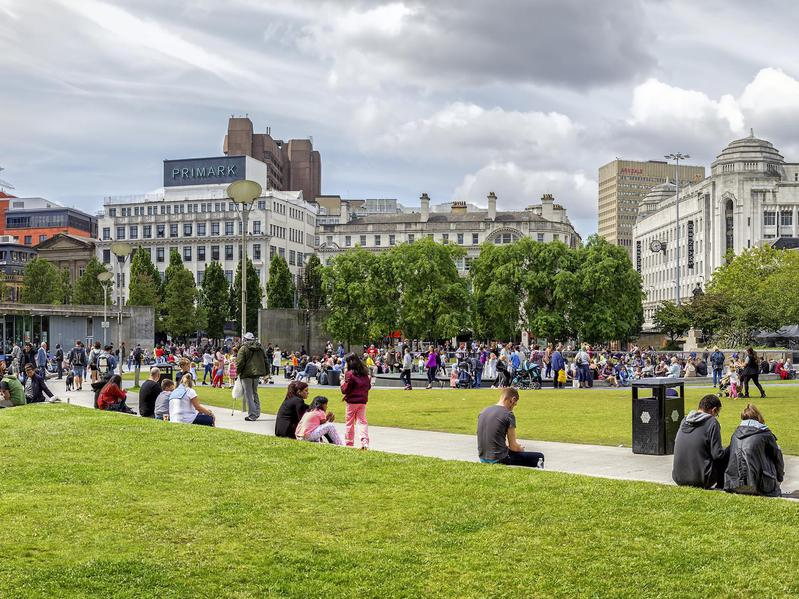 Piccadilly Gardens in the center of Manchester.