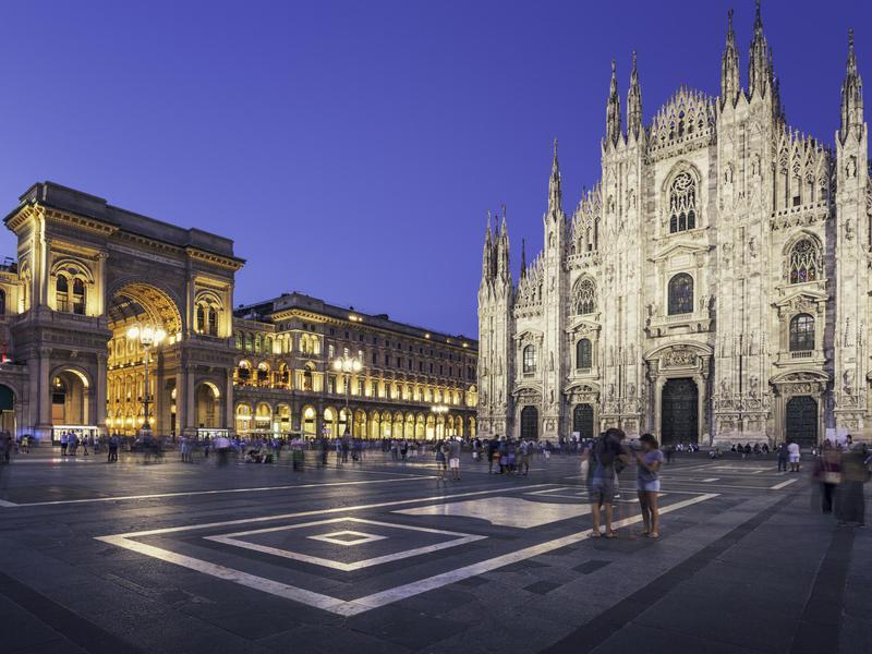Evening at Piazza del Duomo, Milan.