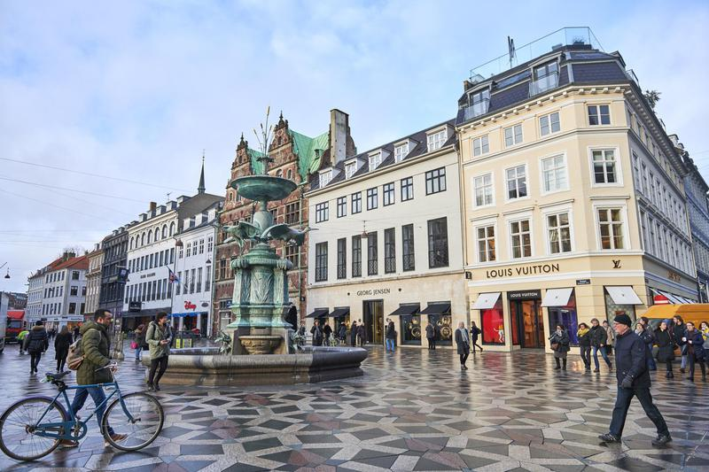 The shopping area 'Stroget' in Copenhagen, Denmark.