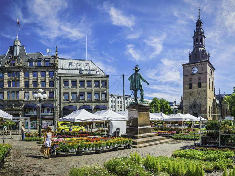 The Grand Plaza in the heart of downtown Oslo, Norway.