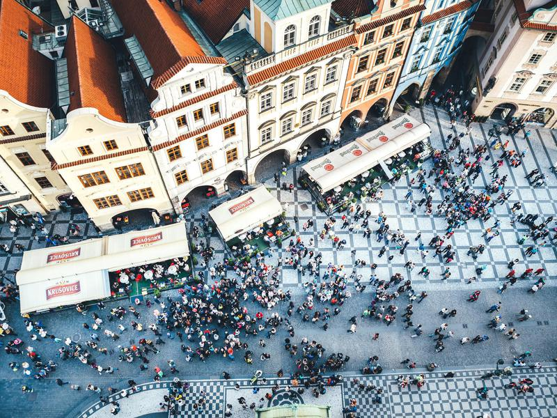 Beer gardens draw the masses to Old Town Square in Prague.