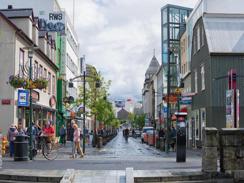 The lively streets of downtown Reykjavik, Iceland.