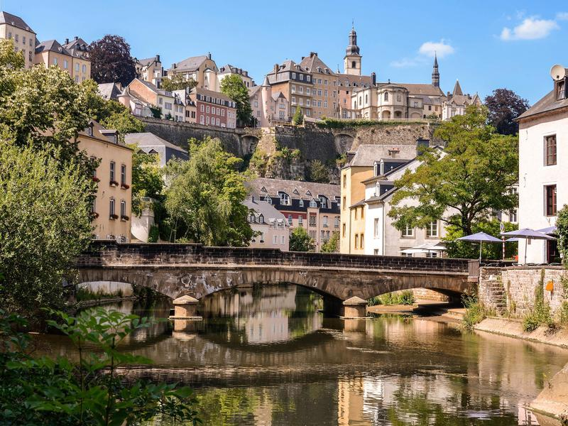 In Luxembourg City, a bridge over the Alzette river.