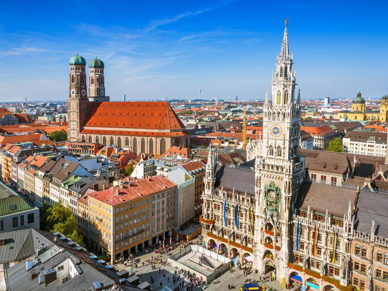 City hall at the Marienplatz in Munich, Germany.
