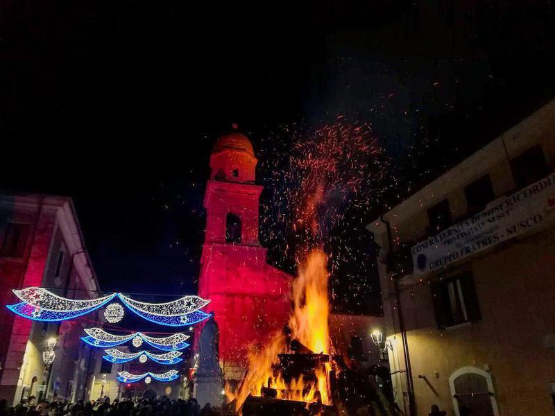 "The feast of ""Bonfires for the Dead"" in Orsara di Puglia, Italy."