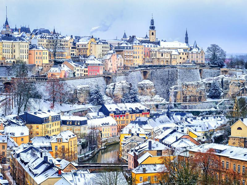 Snow coats Luxembourg City.