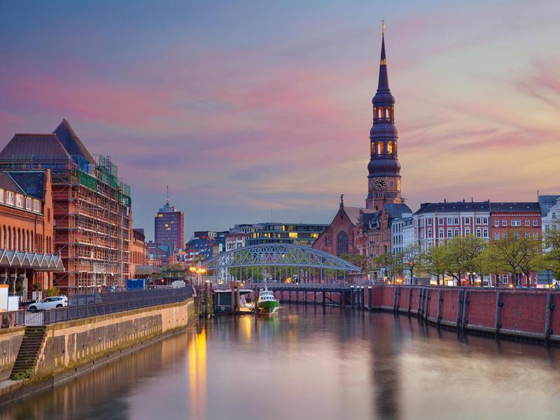 Hamburg at sunset.
