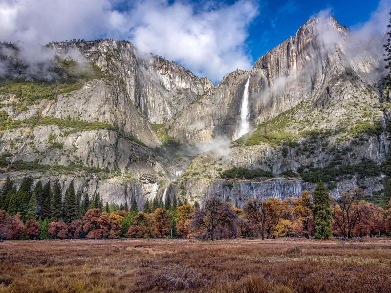 These falls are just one striking attraction at Yosemite National Park.