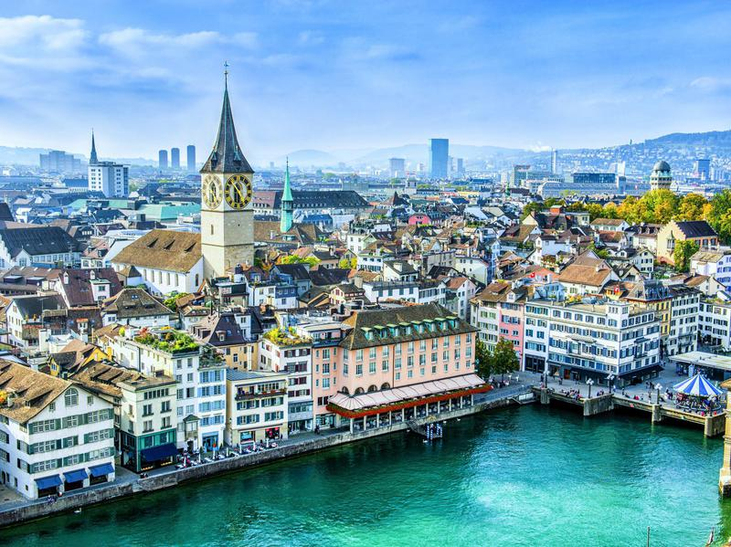 Zurich is a multicultural city with a medieval center.