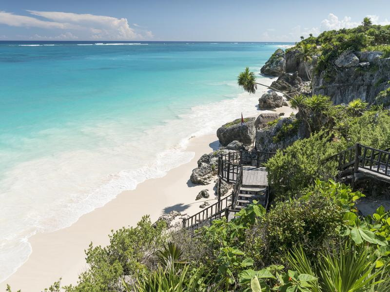 Not many beaches offer not only the view but also well-preserved ancient Mayan ruins that Tulum Beach does in Mexico.