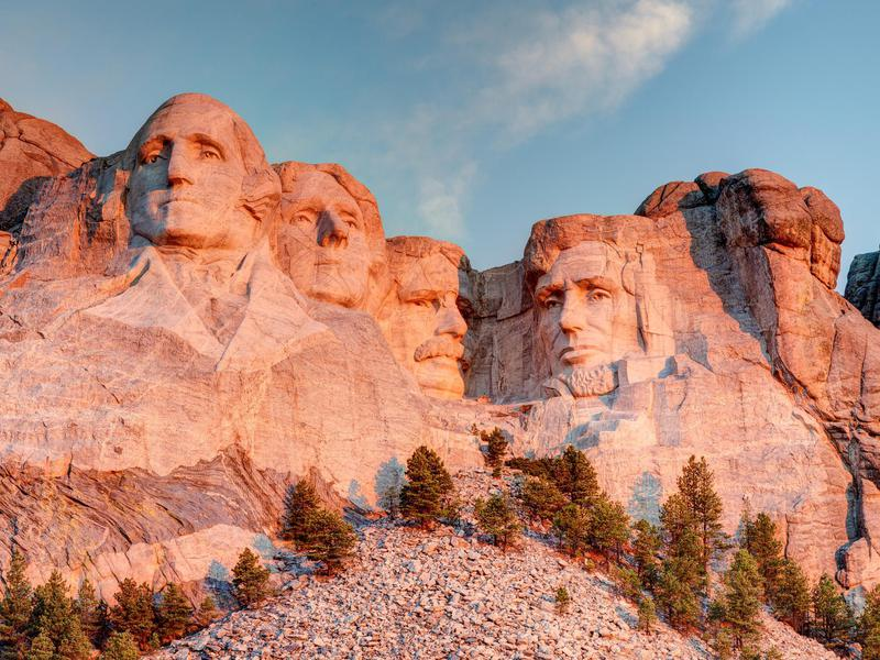 Mount Rushmore National Memorial, with 60-foot carved granite faces of former presidents George Washington, Thomas Jefferson, Theodore Roosevelt, and Abraham Lincoln, was completed in 1941.