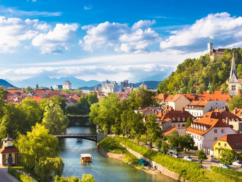 Panorama of Ljubljana, Slovenia.