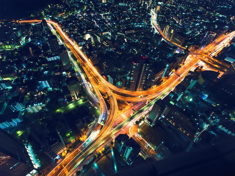 A highway junction in Japan looks particularly impressive at night from the sky.