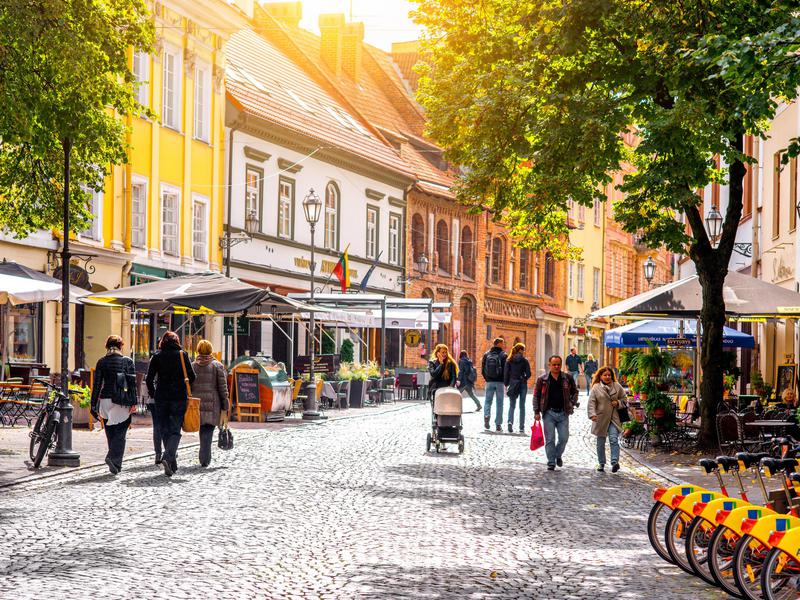 The main pedestrian street with cafes and bars in the old town of Vilnius, Lithuania.
