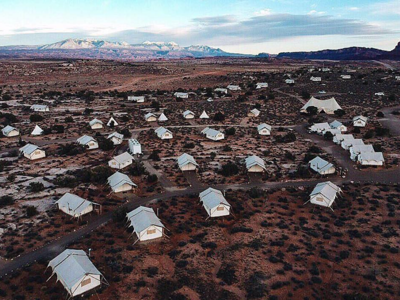 Under Canvas, now encompassing seven locations, was launched in 2009, modeled their all-inclusive glamping adventures after an African safari experience. Pictured is Moab's site.