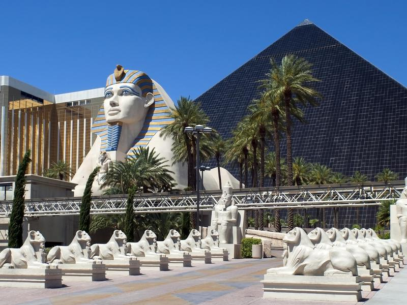 The Egyptian features at the Luxor are eye-catchingly immense.