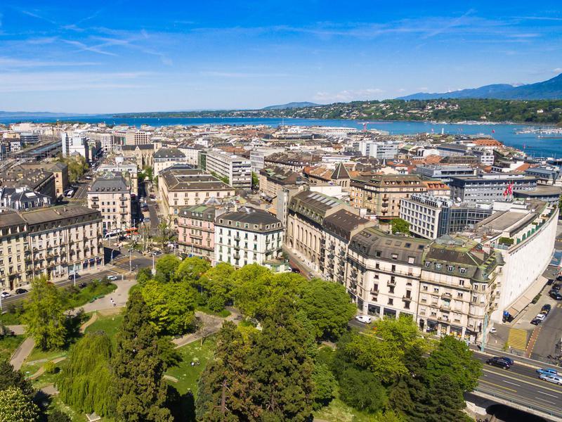 Aerial view of Geneva in Switzerland.
