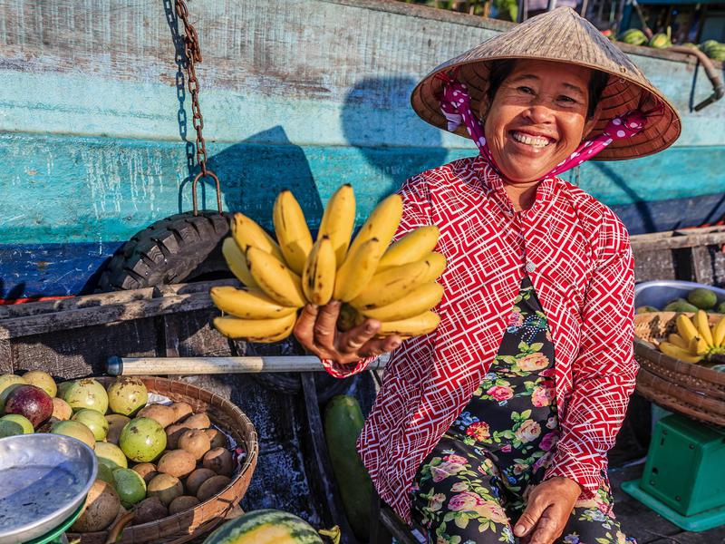 In Vietnam, buy fresh produce from kind locals.